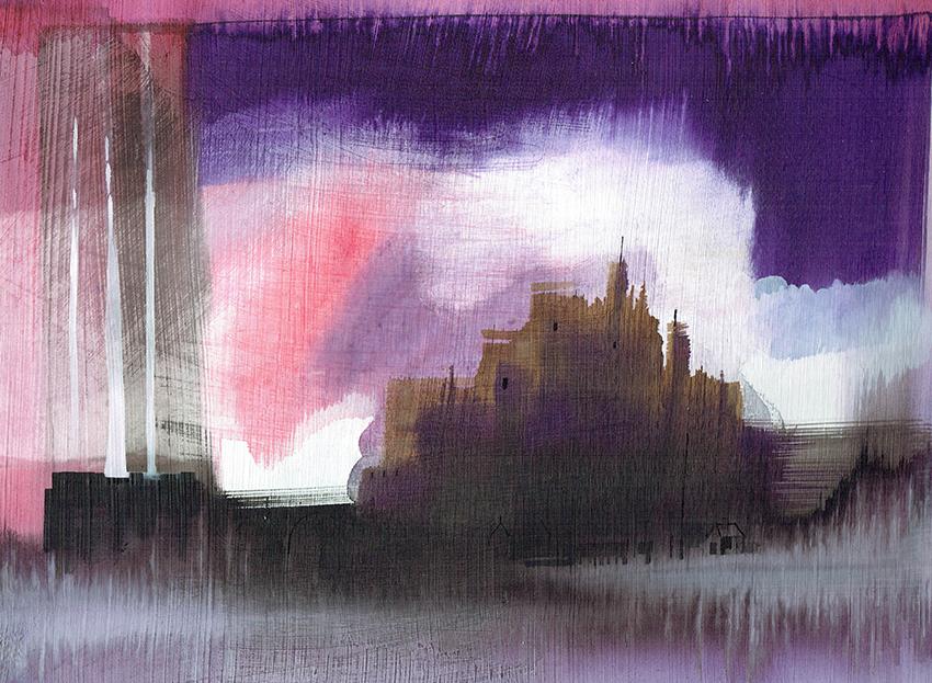 chateau - watercolors - 40 x 30 cm