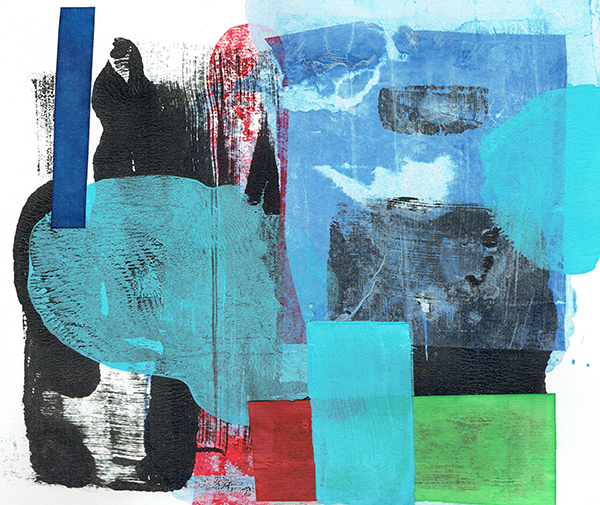 collage - monotype, watercolour and pasteup