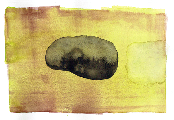 floating stone - watercolor - 18x12  cm
