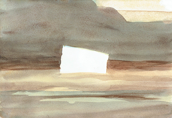 land object white - watercolor - 26 x 18 cm