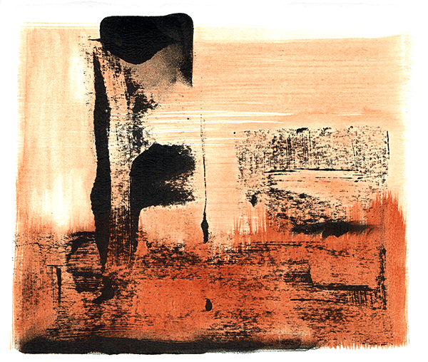 monolith - monotype and watercolour