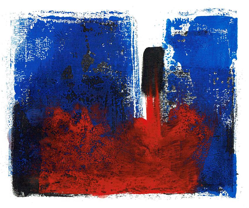 lift off - monoprint/mixed media - 19 x 14 cm