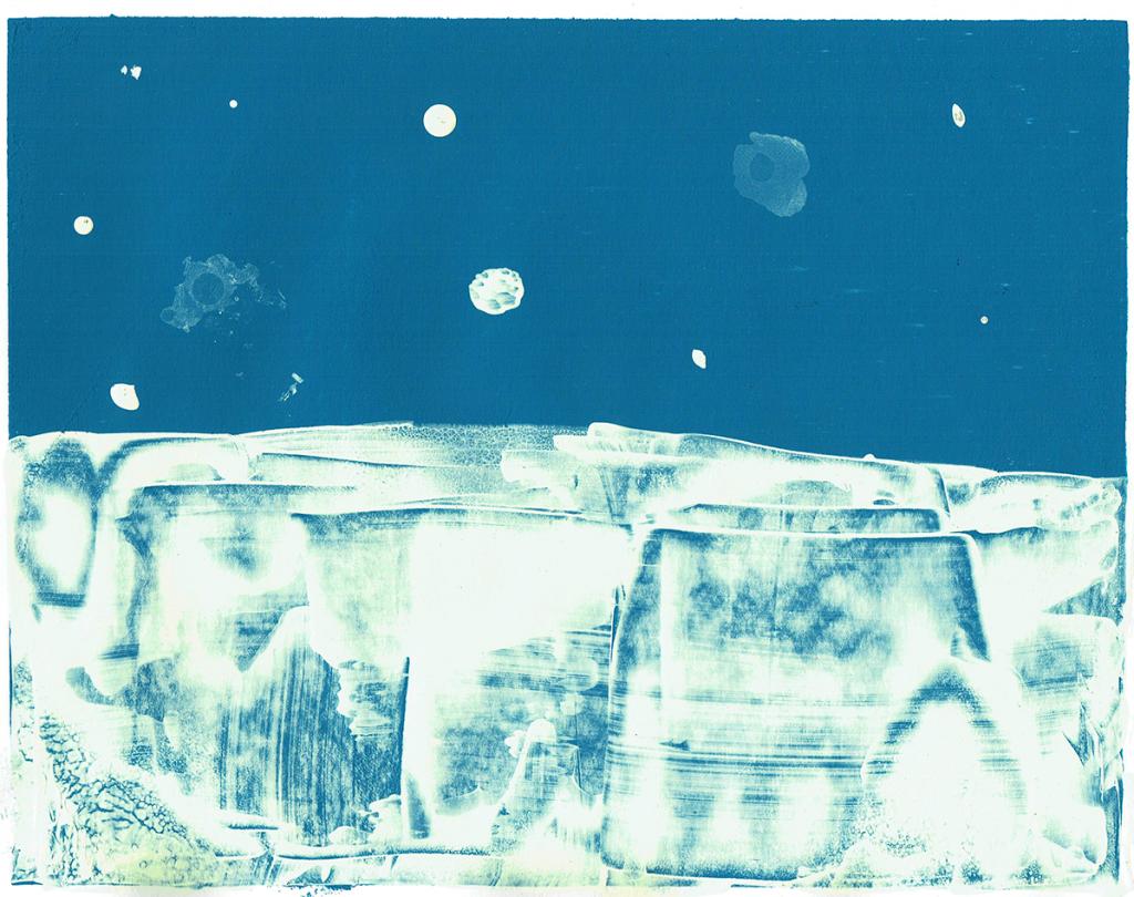 monoprint mountains - monoprint/mixed media - 29 x 20 cm
